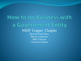 How to do Business with a Government Entity