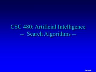CSC 480: Artificial Intelligence --  Search Algorithms --