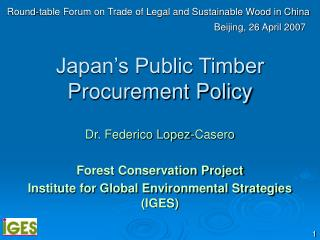 Japan's Public Timber Procurement Policy