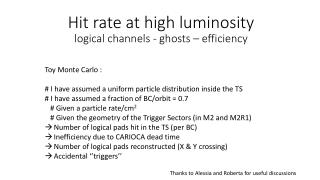 Hit rate  at  high  luminosity logical channels  -  ghosts  –  efficiency