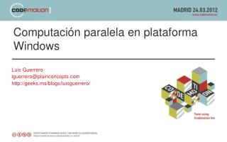 Computación paralela en plataforma Windows