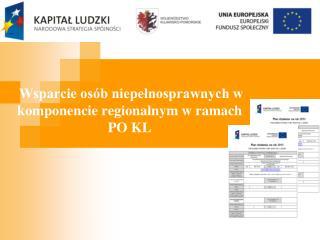 Wsparcie osób niepełnosprawnych w komponencie regionalnym w ramach PO KL