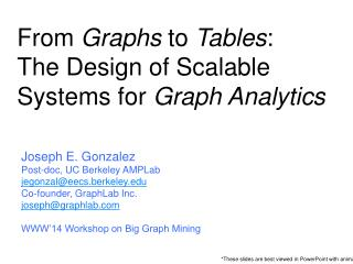 From  Graphs  to  Tables :  The  Design of Scalable Systems for  Graph Analytics