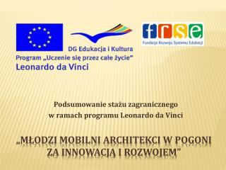 """""""Młodzi mobilni architekci w pogoni za innowacją i rozwojem"""""""