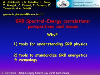 GRB  Spectral-Energy correlations :  perspectives  and  issues
