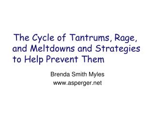 The Cycle of Tantrums, Rage, and Meltdowns and Strategies to Help Prevent Them