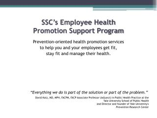 SSC's Employee Health Promotion Support Program