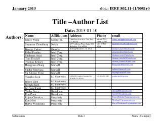 Title �Author List