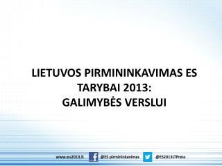 LIETUVOS PIRMININKAVIMAS ES TARYBAI 2013: GALIMYBĖS VERSLUI