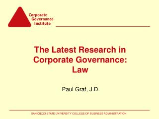 The Latest Research in Corporate Governance: Law