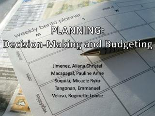 PLANNING: Decision-Making and Budgeting