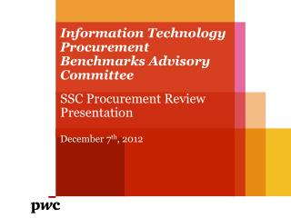 Information Technology Procurement Benchmarks Advisory Committee