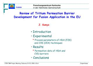 Review of Tritium Permeation Barrier Development for Fusion Application in the EU