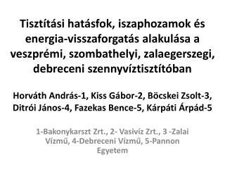 1-Bakonykarszt  Zrt ., 2-  Vasivíz Zrt ., 3  -Zalai  Vízmű, 4-Debreceni Vízmű, 5-Pannon Egyetem