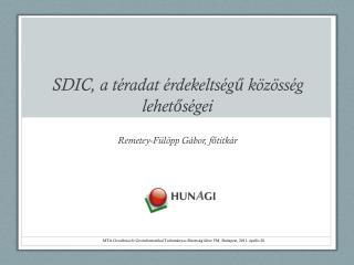 SDIC, a téradat érdekeltségű közösség lehetőségei