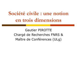 Soci t  civile : une notion en trois dimensions