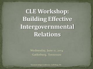 CLE Workshop: Building Effective Intergovernmental Relations