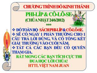 PHI-LÍP & CÔ-LÔ-SE                     (CHÚA NHẬT 24/6/2012) ***