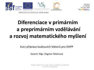 Diferenciace  v primárním a  preprimárním vzdělávání a  rozvoj matematického myšlení