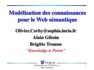 Mod lisation des connaissances pour le Web s mantique