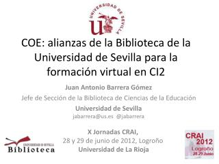 COE: alianzas de la Biblioteca de la Universidad de Sevilla para la formaci�n virtual en CI2