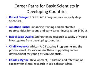 Career Paths for Basic Scientists in Developing Countries