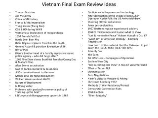 Vietnam Final Exam Review Ideas