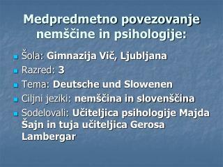 Medpredmetno povezovanje nemščine in psihologije: