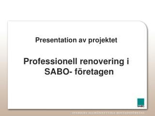 Presentation av projektet Professionell renovering i SABO- företagen