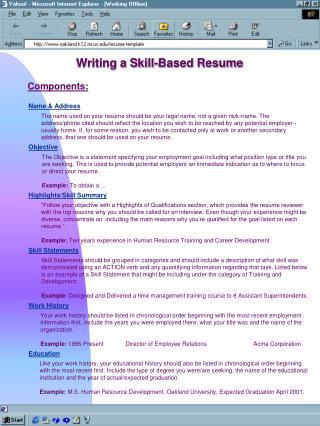 Writing a Skill-Based Resume