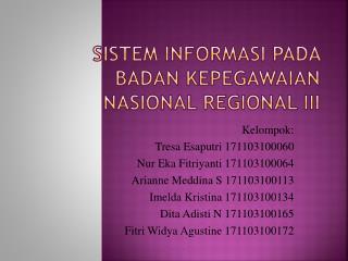 SISTEM INFORMASI PADA BADAN KEPEGAWAIAN NASIONAL REGIONAL III