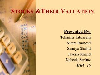 Stocks &Their Valuation