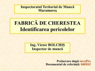 FABRICA DE CHERESTEA Identificarea pericolelor