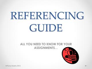REFERENCING  GUIDE