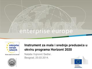 Instrument  za mala i srednja preduzeća u okviru  programa Horizont  2020