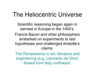 The Heliocentric Universe