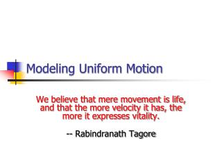 Modeling Uniform Motion