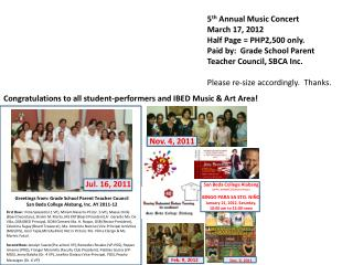 Greetings from: Grade  School Parent Teacher Council  San Beda College  Alabang , Inc. AY 2011-12