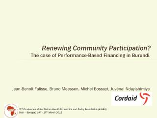 Renewing Community Participation?  The case of Performance- Based Financing  in Burundi .
