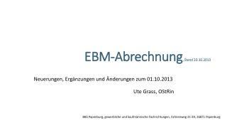 EBM-Abrechnung , Stand 20.10.2013
