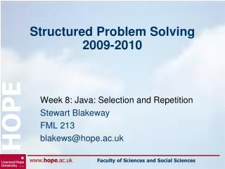 Structured Problem Solving 2009-2010