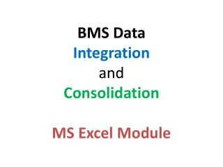 BMS Data Integration and Consolidation MS  Excel Module