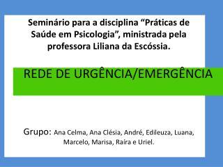 REDE DE URGÊNCIA/EMERGÊNCIA