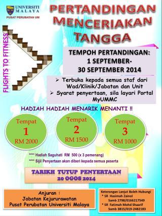 ****  Hadiah Saguhati   RM  500 (x 3  pemenang )