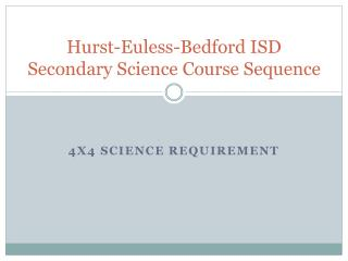 Hurst-Euless-Bedford ISD Secondary Science Course Sequence
