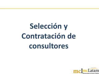 Selección y Contratación de consultores