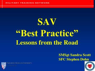 """SAV """"Best Practice"""" Lessons from the Road"""