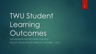 TWU Student Learning Outcomes