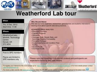 Weatherford Lab tour