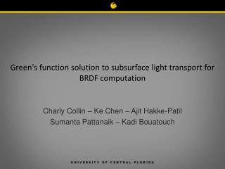 Green's function solution to subsurface light transport for  BRDF computation